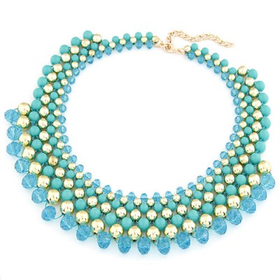 Micro Light Blue Multilayer Weave Fake Collar Design Turquoise Beaded Necklaces
