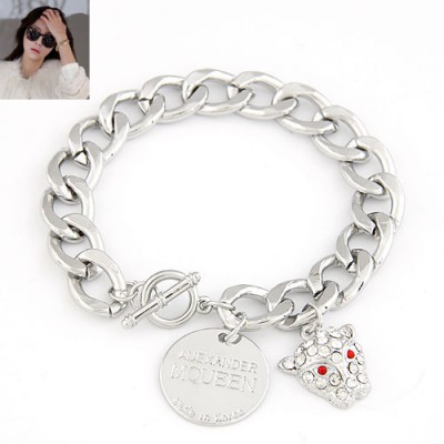 Victorian Silver Color Blink Leopard Pendant Design Alloy Korean Fashion Bracelet