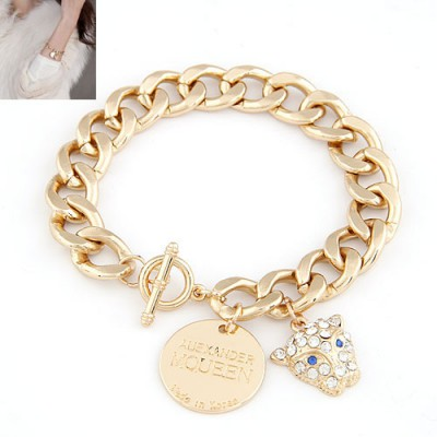 Business Gold Color Blink Leopard Pendant Design Alloy Korean Fashion Bracelet