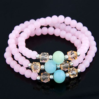 Fall Pink Multilayer Weave Beads Design Alloy Korean Fashion Bracelet