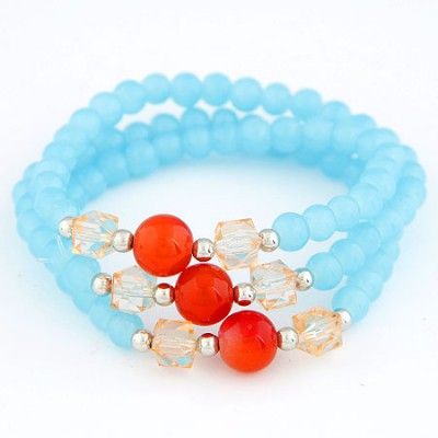 Memorable Sky Blue Multilayer Weave Beads Design Alloy Korean Fashion Bracelet
