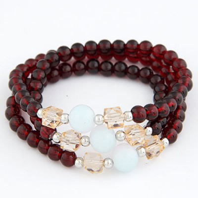 Sparking Claret-Red Multilayer Weave Beads Design Alloy Korean Fashion Bracelet