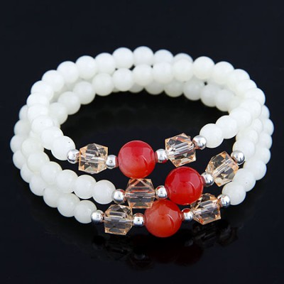 Papyrus White Multilayer Weave Beads Design Alloy Korean Fashion Bracelet