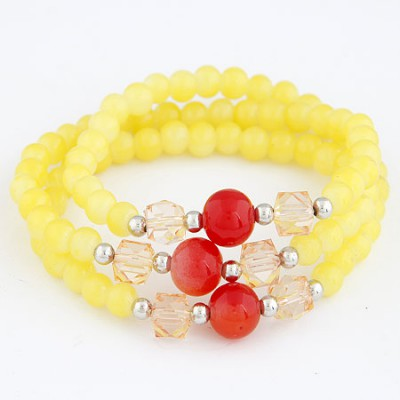 Old Yellow Multilayer Weave Beads Design Alloy Korean Fashion Bracelet