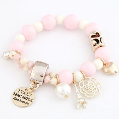 Creative Pink Multielement Pendant Decorated Design Alloy Korean Fashion Bracelet