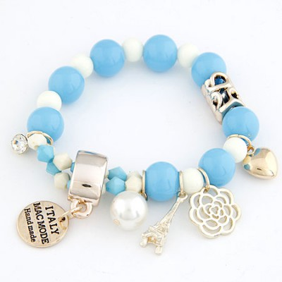 Heather Blue Multielement Pendant Decorated Design Alloy Korean Fashion Bracelet
