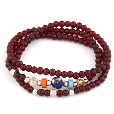 Smart Claret-Red Mutlilayer Weave Beads Design Alloy Korean Fashion Bracelet