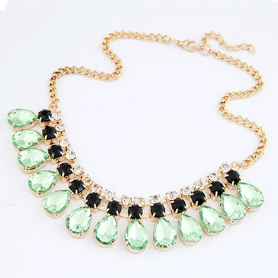 Affinity Light Green Water Drop Pendant Design Alloy Bib Necklaces
