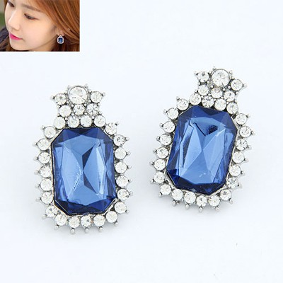 Tory Sapphire Square With Diamond Design Alloy Stud Earrings