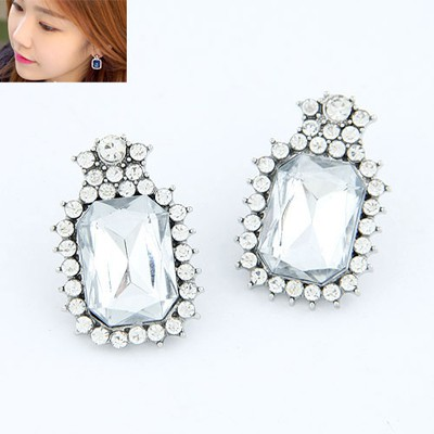 Heavy White Square With Diamond Design Alloy Stud Earrings