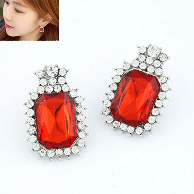 Harry Red Square With Diamond Design Alloy Stud Earrings