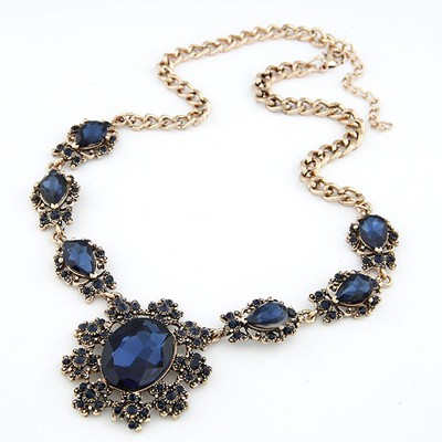 Drawstring Sapphire Gemstone Decoraed Design Alloy Bib Necklaces