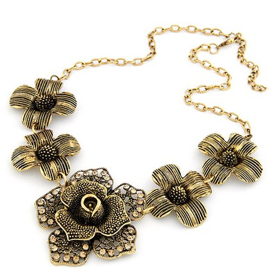 Premier Antique Gold Five Flowers Decorated Design Alloy Bib Necklaces