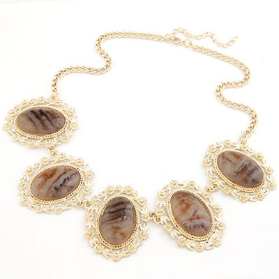 Uniform Gold Color Oval Gemstone Decorated Design Alloy Bib Necklaces