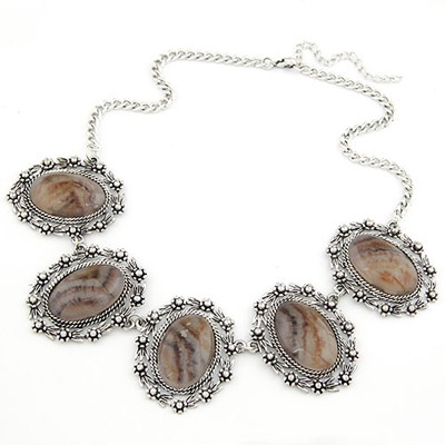 Promo Silver Color Oval Gemstone Decorated Design Alloy Bib Necklaces