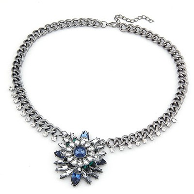 Sling Sapphire Bright Gemstone Pendant Design Alloy Bib Necklaces