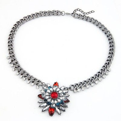 Pewter Claret-Red Bright Gemstone Pendant Design Alloy Bib Necklaces