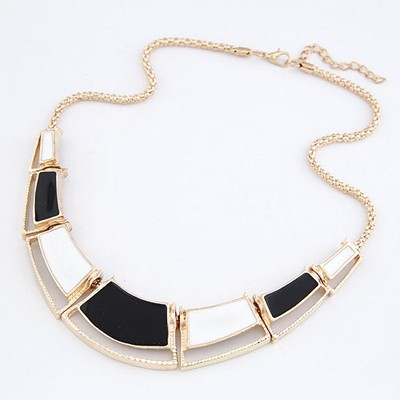 Ultra Black Double Color Irregular Square Design Alloy Bib Necklaces