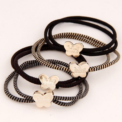 Baroque Color Will Be Random Metal Butterfly Decorated Design Rubber Band Hair band hair hoop