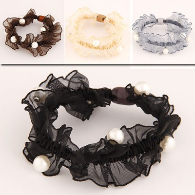 Stronglite Color Will Be Random Pearl Decorated Fold Design Rubber Band Hair band hair hoop