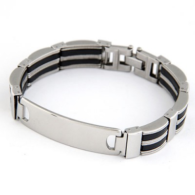 Streamline Silver Color Buckle Simple Design Stainless Steel Korean Fashion Bracelet