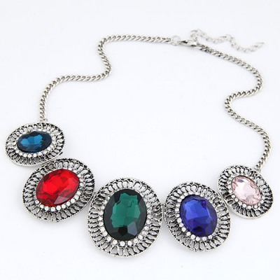 Trendy Multicolor Hollow Out Oval Gemstone Decorated Design Alloy Bib Necklaces