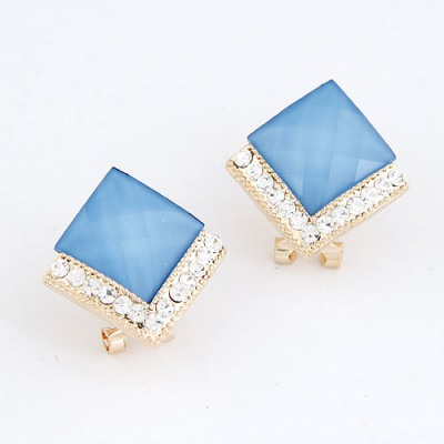 Mechanical Navy Blue Diamond Decorated Square Shape Design Alloy Stud Earrings