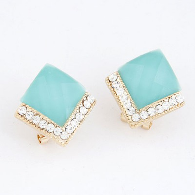 Circle Sky Blue Diamond Decorated Square Shape Design Alloy Stud Earrings