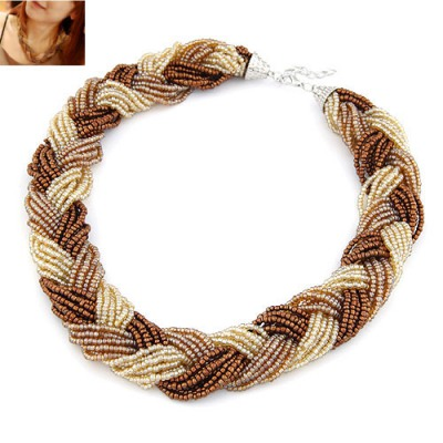 Punk Multicolor Beads Twist Weave Design Alloy Beaded Necklaces