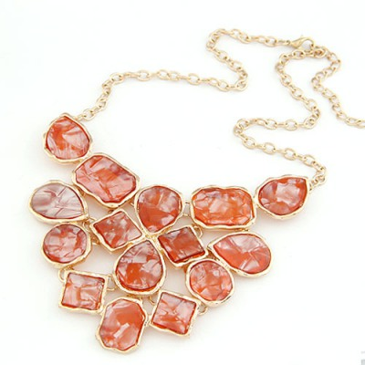 Sweet Claret-Red Geometric Shape Pendant Design Alloy Bib Necklaces