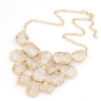 Wrap Beige Geometric Shape Pendant Design Alloy Bib Necklaces
