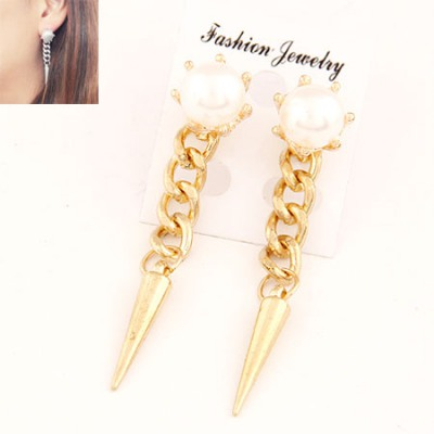 Printed Gold Color Rivet Pearl Simple Design Alloy Stud Earrings
