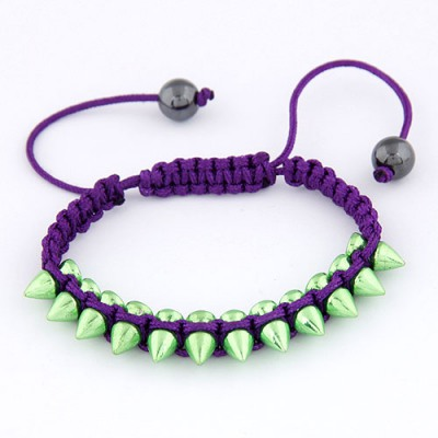 Simple Purple Rivet Decorated Simple Design Alloy Korean Fashion Bracelet