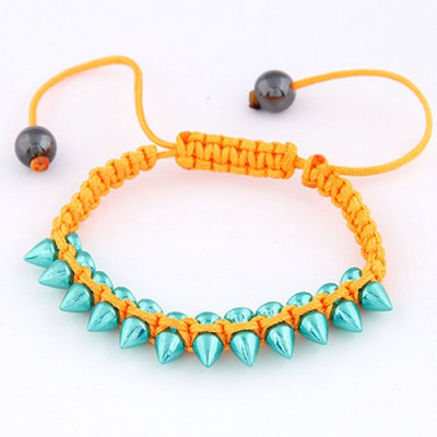 Plus Size Orange Rivet Decorated Simple Design Alloy Korean Fashion Bracelet