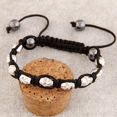 Circle Silver Color Skull Head Decorated Design Alloy Korean Fashion Bracelet
