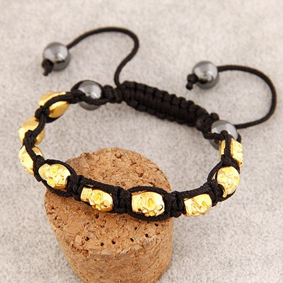 Sparking Gold Color Skull Head Decorated Design Alloy Korean Fashion Bracelet