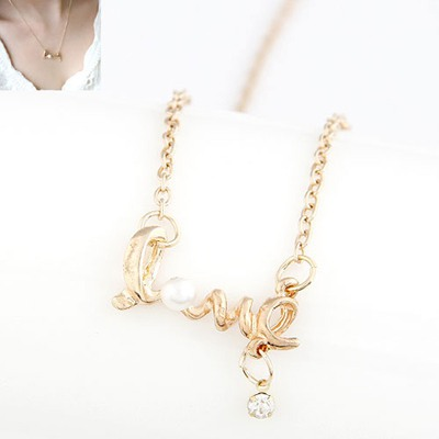 Timeless Gold Color Letters Love Pearl Decorated Alloy Chains