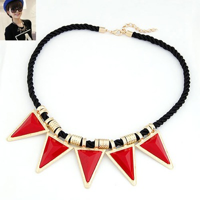 Packaging Red Triangle Shape Pendant Design Alloy Bib Necklaces