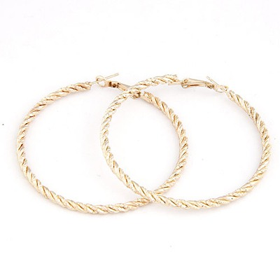 Homecoming Gold Color Circle Simple Design Alloy Stud Earrings
