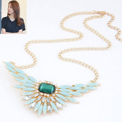 Wholesale Light Blue Unfold Wings Pendant Design Alloy Bib Necklaces