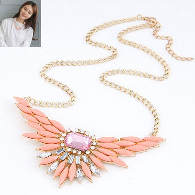 Adjustable Orange Red Unfold Wings Pendant Design Alloy Bib Necklaces