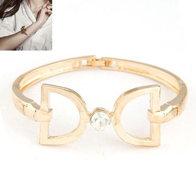 Concealed Gold Color Double D Decorated Design Alloy Fashion Bangles