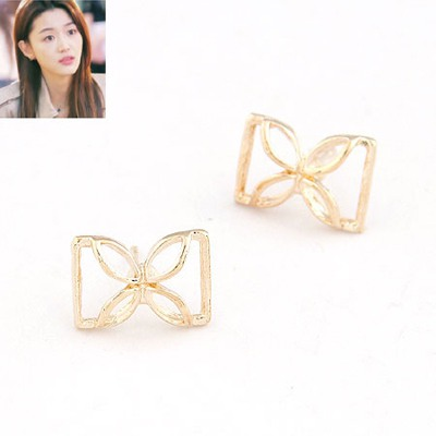Deathly Gold Color Butterfly Simple Design Alloy Stud Earrings
