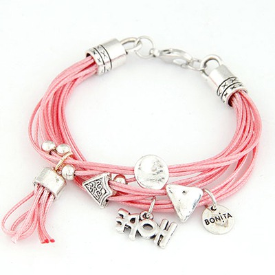 Security Light Watermelon  Red Multielement Decorated Design Alloy Korean Fashion Bracelet