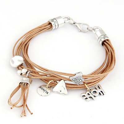 Liquid Coffee Multielement Decorated Design Alloy Korean Fashion Bracelet
