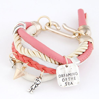Healing Watermelon Red Multielement Decorated Multilayer Design Ccb Korean Fashion Bracelet