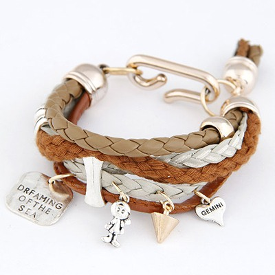 Infant Coffee Multielement Decorated Multilayer Design Ccb Korean Fashion Bracelet