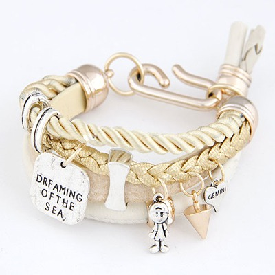 Collar Beige Multielement Decorated Multilayer Design Ccb Korean Fashion Bracelet