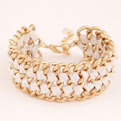 2012 White Multilayer Chain Weave Design Alloy Korean Fashion Bracelet