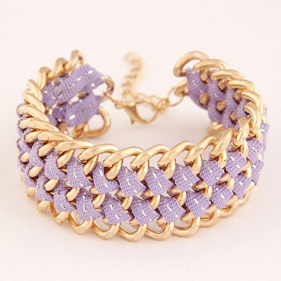 Revealing Purple Multilayer Chain Weave Design Alloy Korean Fashion Bracelet